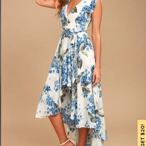 Lulu's French Countryside White Floral Hi-Lo Dress